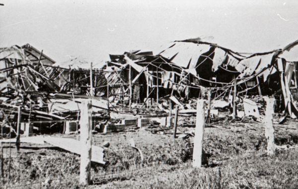 Bombed hangars