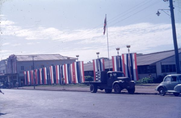 Buildings decorated with flags