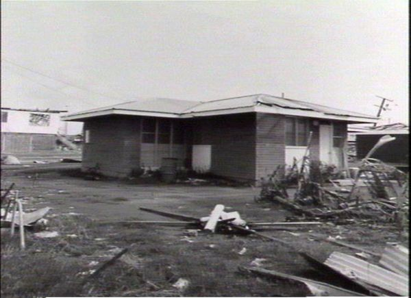 Close up of cyclone damage to house in the northern suburbs