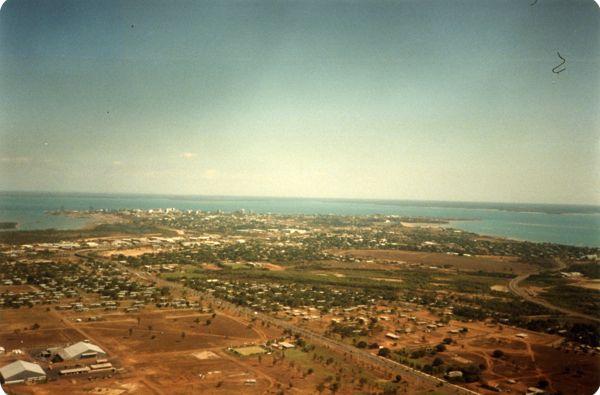 Aerial view RAAF Base to Darwin