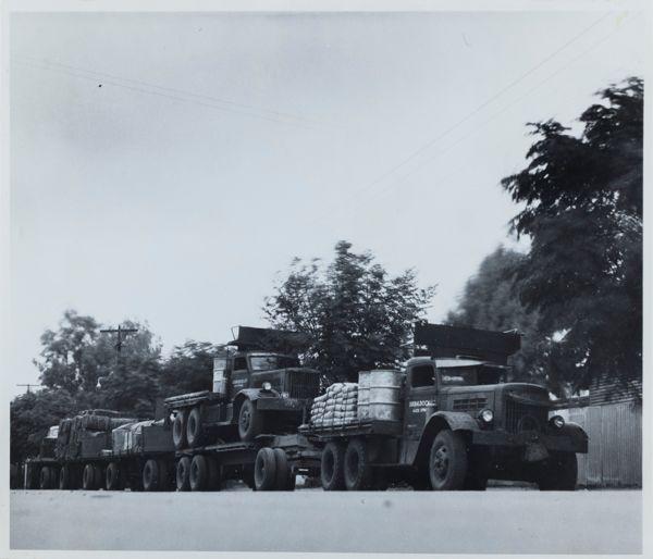Loaded truck & trailers