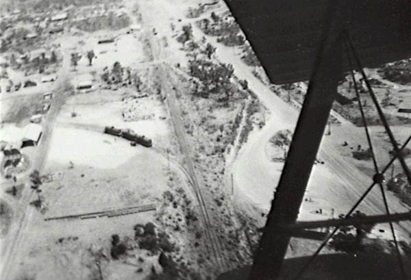 Birdseye view of locomotive and railway