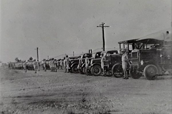 Trucks and soldiers