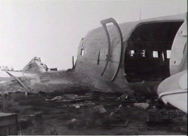 View of damaged airplane