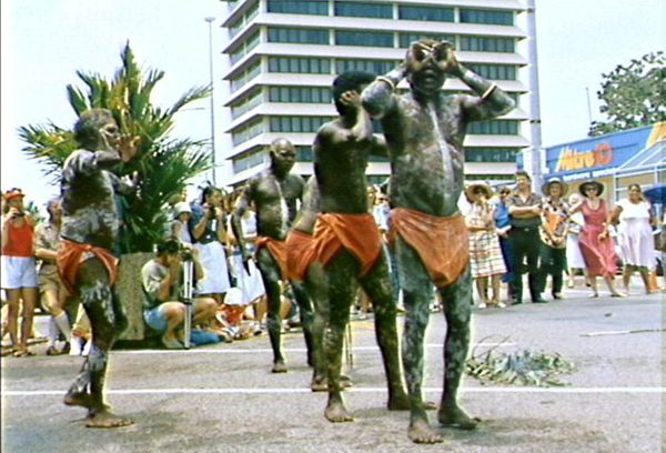 Indigenous ceremonial dance held outside the Northern Territory State Reference Library