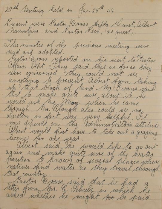 Albert Namatjira Council Minutes 1946-1951