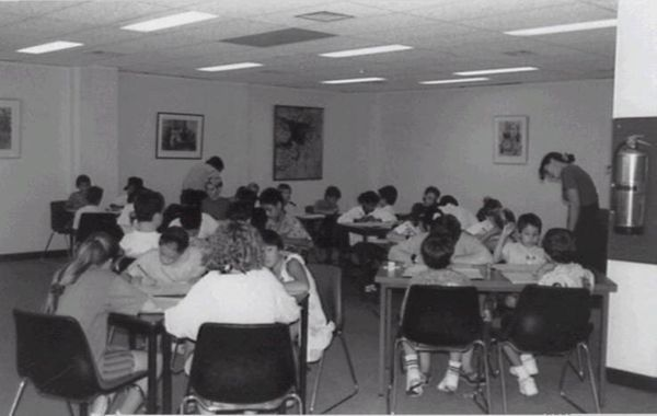 A group of school childre attending a fuction at the State Reference Library